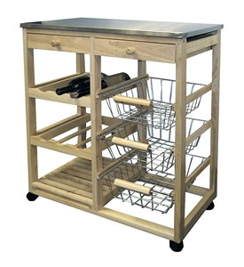 Rolling Wood Kitchen Cart - Natural Image