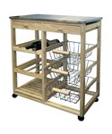 Rolling Wood Kitchen Cart - Natural
