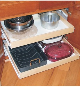 Wood Roll Out Cabinet Shelf - Wide Image