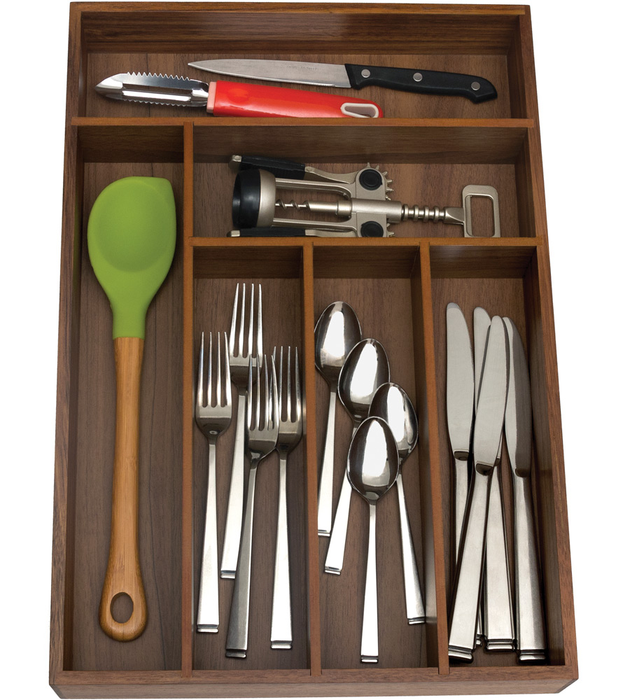 Wooden cutlery organizer six sections in kitchen drawer