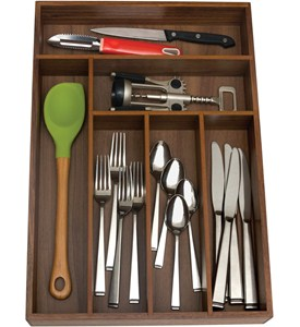 Wooden Cutlery Organizer - Six Sections Image