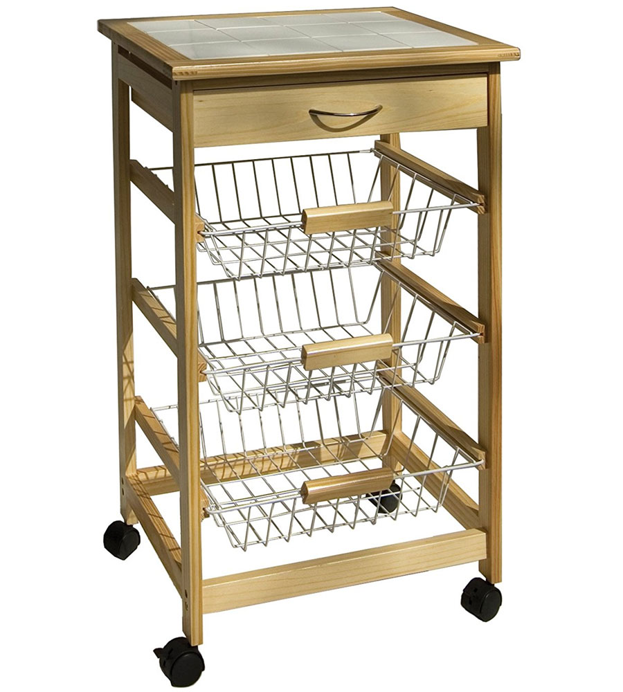Wooden Kitchen Cart With Baskets By Neu Home Price: $75.99