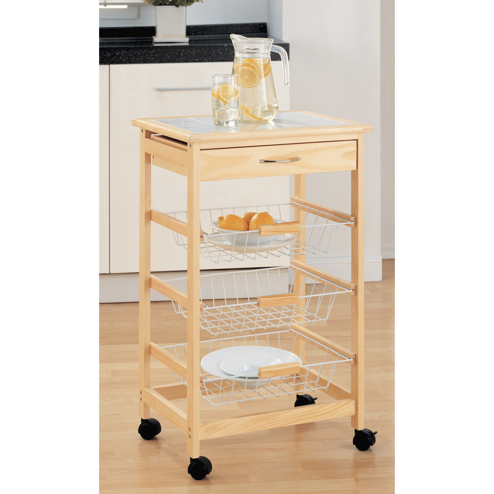 Wooden Kitchen Cart With Baskets By Neu Home In Kitchen Island Carts