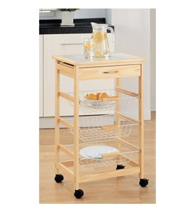 Wooden Kitchen Cart with Baskets by Neu Home Image