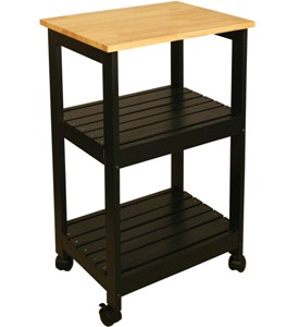 Wooden Kitchen Cart with Shelves Image
