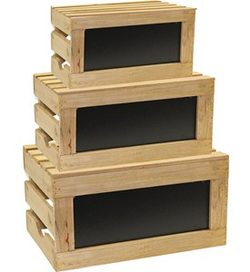 Wooden Storage Crates - Natural (Set of 3) Image