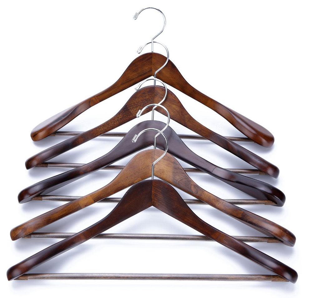 Wooden suit hangers extra wide shoulder set of 5 in for What to do with extra clothes hangers