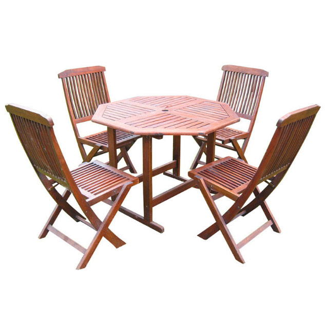 Stow Away Wooden Table With 4 Folding Chairs In Patio