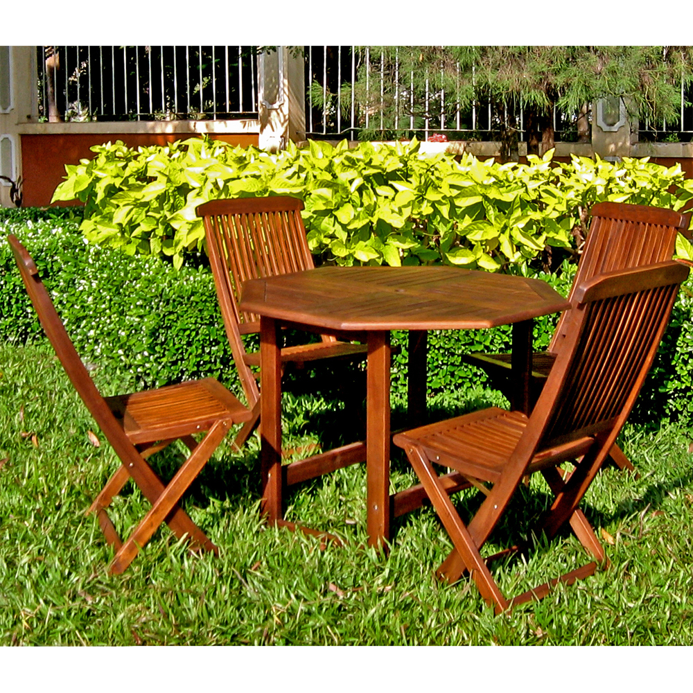 Stow Away Wooden Table with 4 Folding Chairs in Patio ...