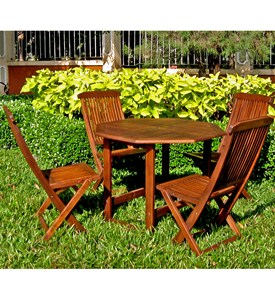 Stow Away Wooden Table with 4 Folding Chairs Image