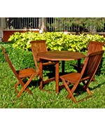Stow Away Wooden Table with 4 Folding Chairs