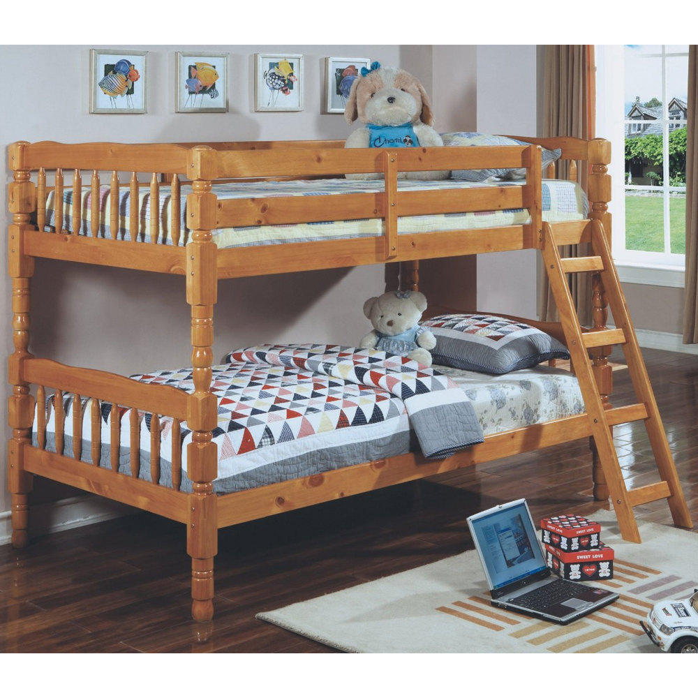 Wooden twin bunk bed in bunk beds