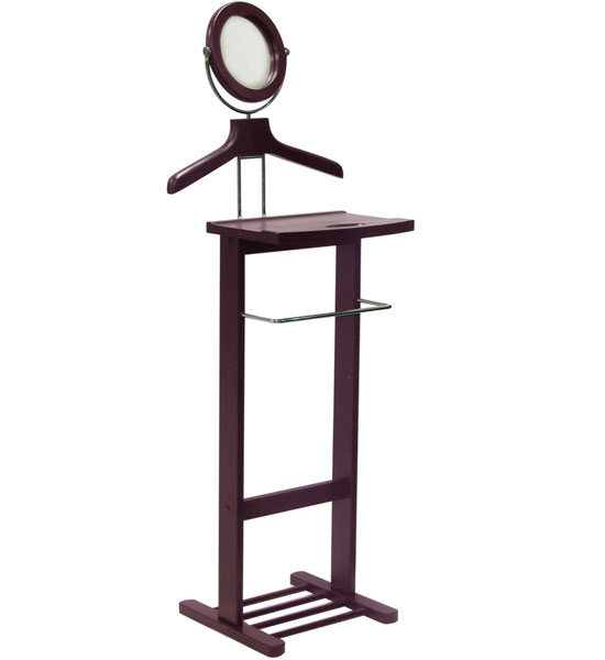 Wooden valet stand with mirror in suit valets