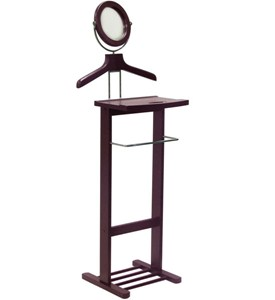 Wooden Valet Stand with Mirror Image