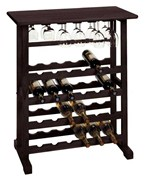 Wooden Wine and Stemware Rack - Espresso