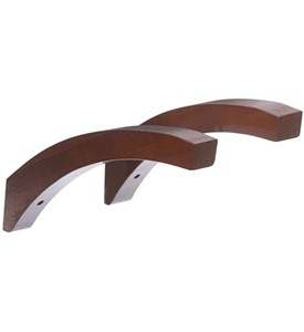 12 Inch Angled Wood Shelf Brackets - Red Mahogany (Set of 2) Image