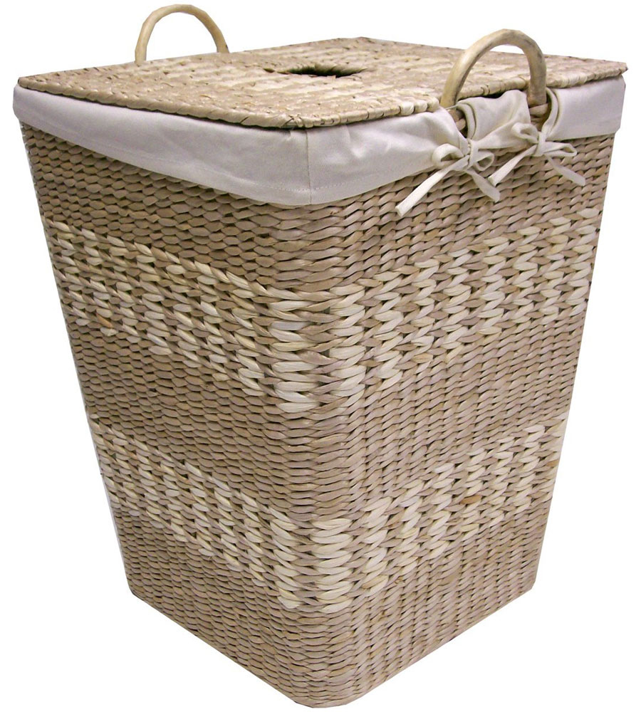 Woven laundry hamper with lid in clothes hampers - Rattan laundry basket with lid ...