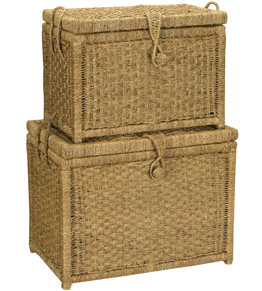 Woven Seagrass Storage Chest Set Of 2 In Wicker Baskets