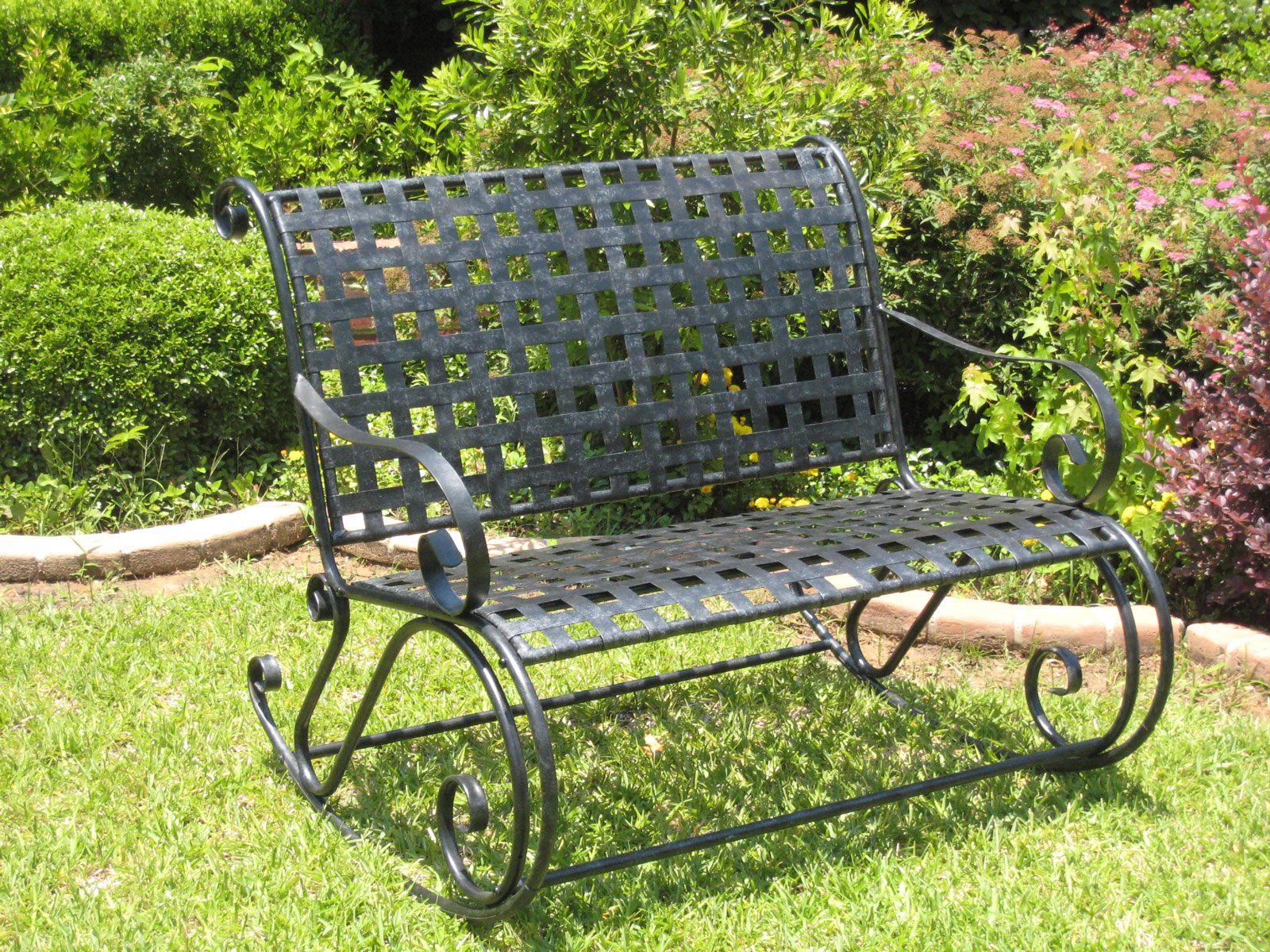 Wrought Iron Bench Rocker Lattice In Outdoor Rockers