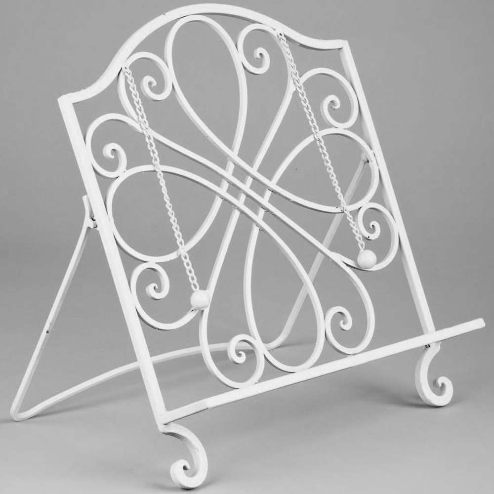 Wrought iron cookbook stand in cookbook holders and stands - Cream recipe book stand ...