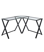 X-Frame Glass and Metal Corner Desk