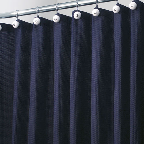 York Fabric Shower Curtain   Navy Blue Image