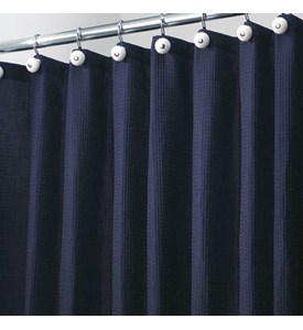York Fabric Shower Curtain - Navy Blue Image