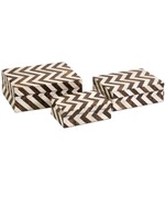 Zig Zag Bone Inlay Boxes - Set of 3 by Imax