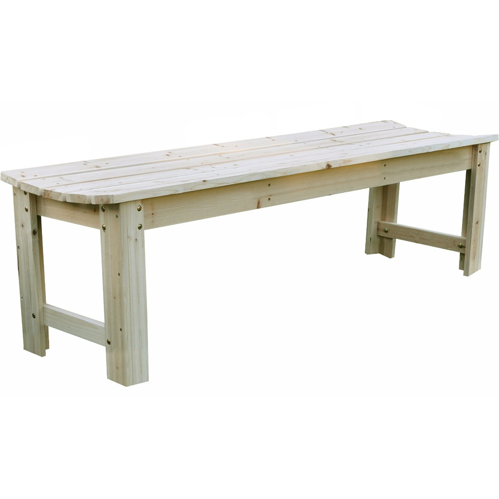 Backless wood garden bench in outdoor benches for Bench outside