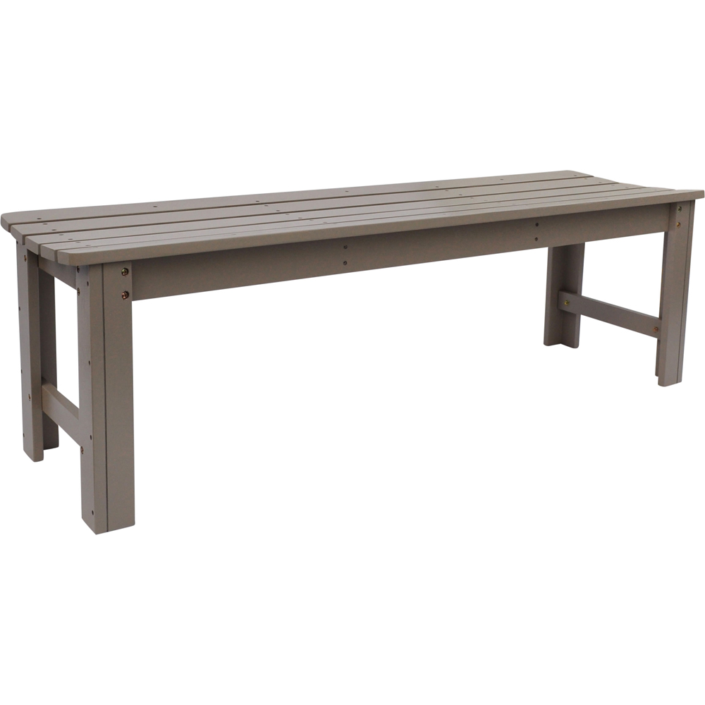Backless Wood Garden Bench In Outdoor Benches