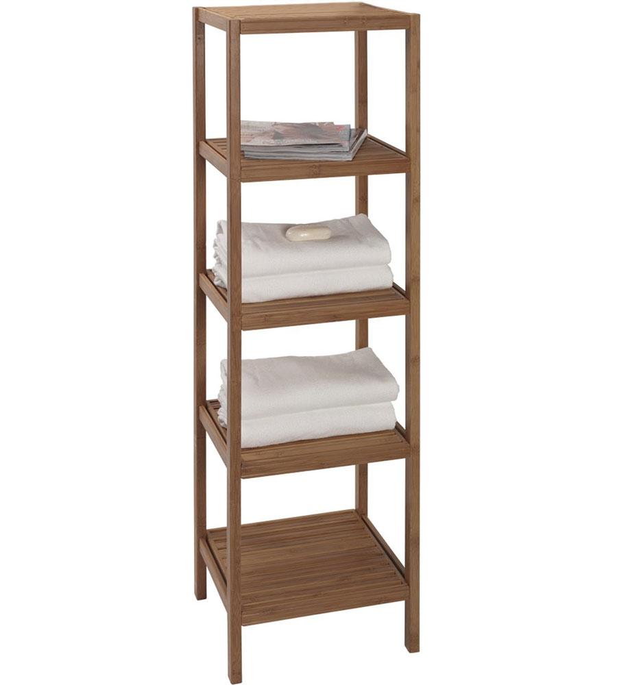 Bamboo shelving unit in bathroom shelves for Bathroom organizer shelf
