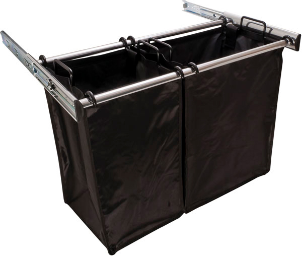 30 Inch Pull Out Double Laundry Hamper In Custom Closet