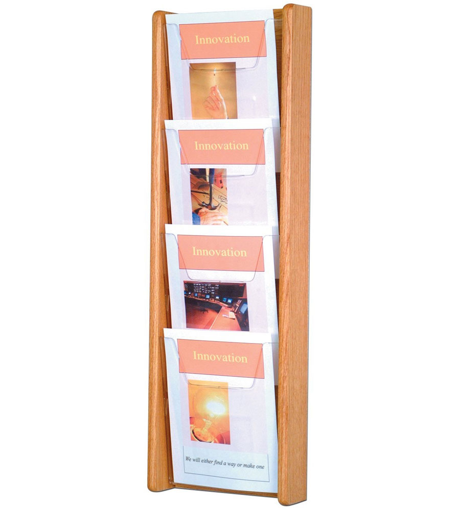 Wall Mounted Magazine Rack Four Pocket In Wall Magazine