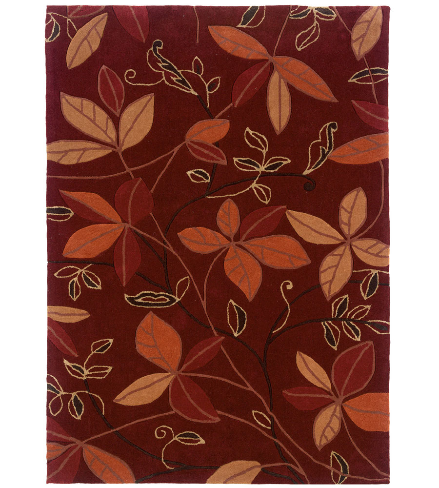 8 X 10 Trio Collection Leaf Area Rug In Patterned Rugs