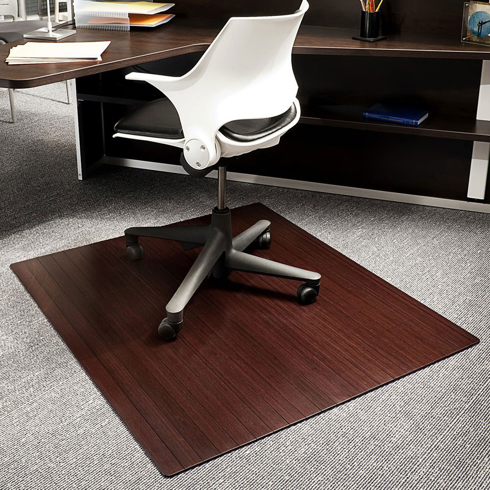 bamboo office chair mat 42x48 inch in chair mats. Black Bedroom Furniture Sets. Home Design Ideas
