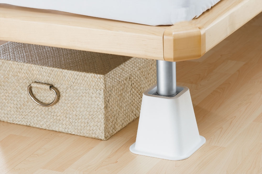 bed frame risers - white in bed risers