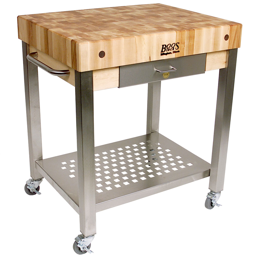 Butcher block cart with drawer in kitchen island carts for Butcher block manufacturers