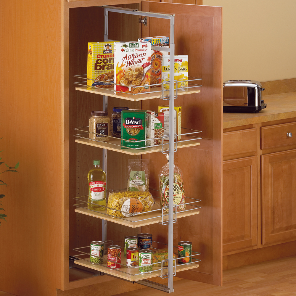 Center mount pantry roll out system nickel in pull out for Kitchen closet