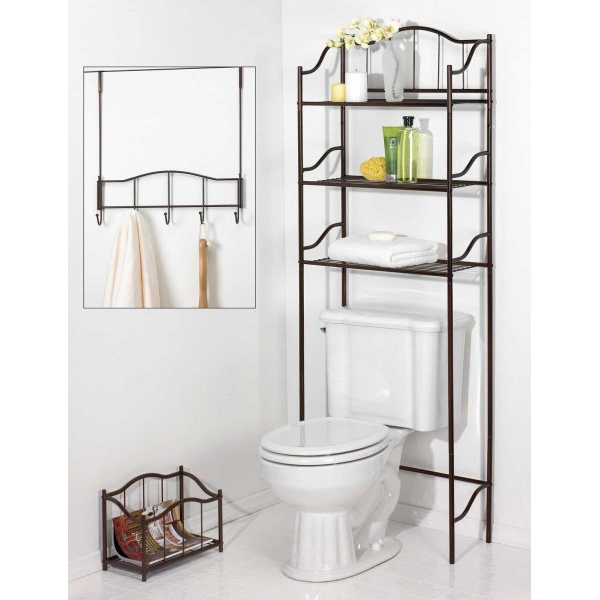Complete Bathroom Set In Over The Toilet Shelving