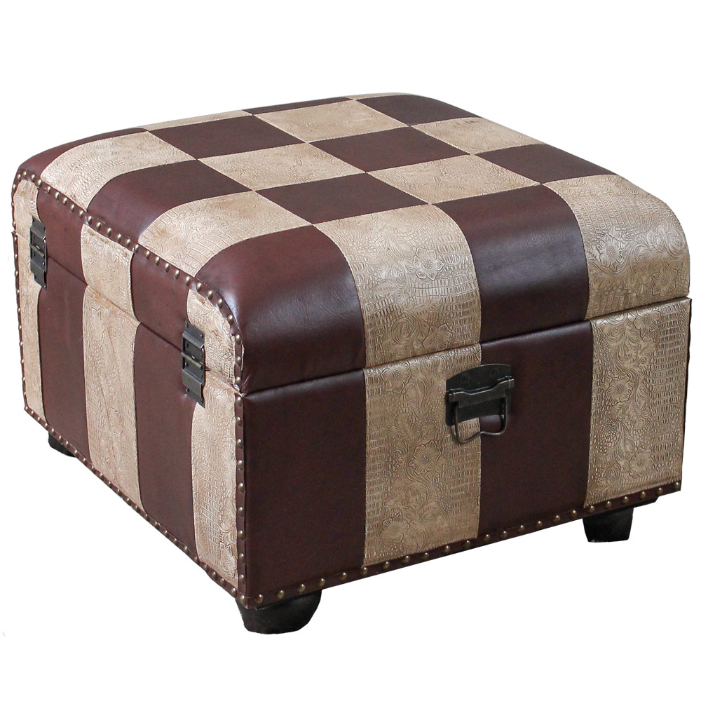 Faux Leather Ottoman Trunk With Lid In Ottomans