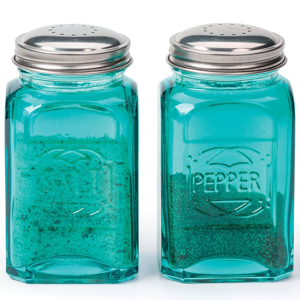 Glass Salt And Pepper Shakers In Spice Containers