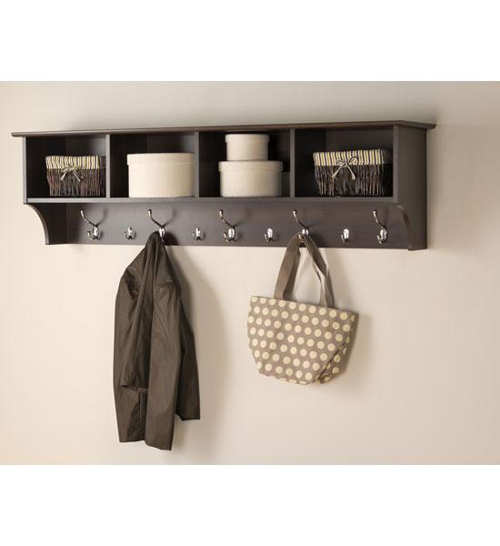 Accessories > Wall Coat Racks > 60 Inch Hanging Shelf with Coat Hooks