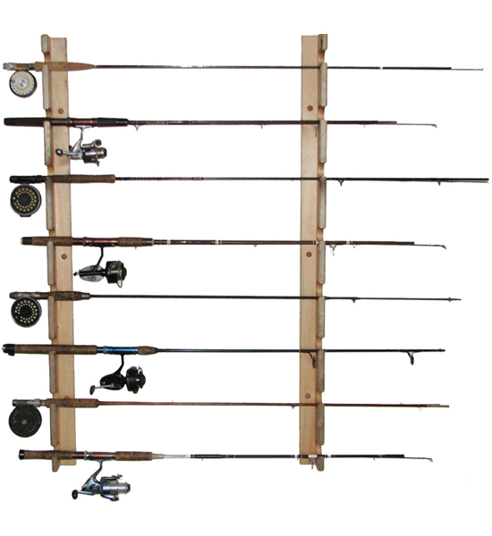Horizontal fishing rod storage rack in sports equipment for Fishing pole wall rack