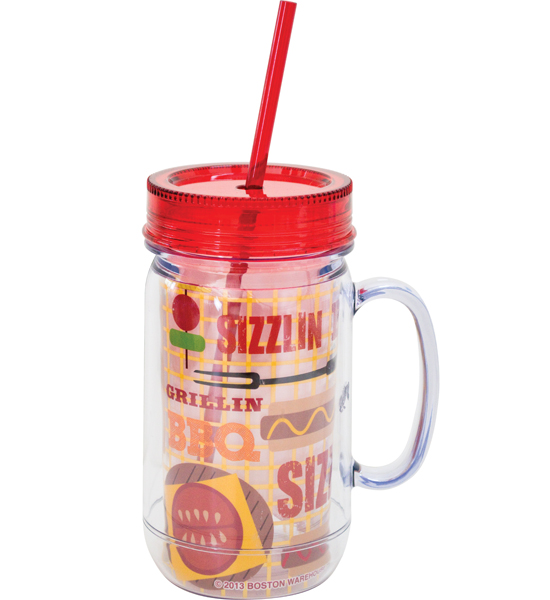 Mason Jar Cup With Straw In Travel Mugs