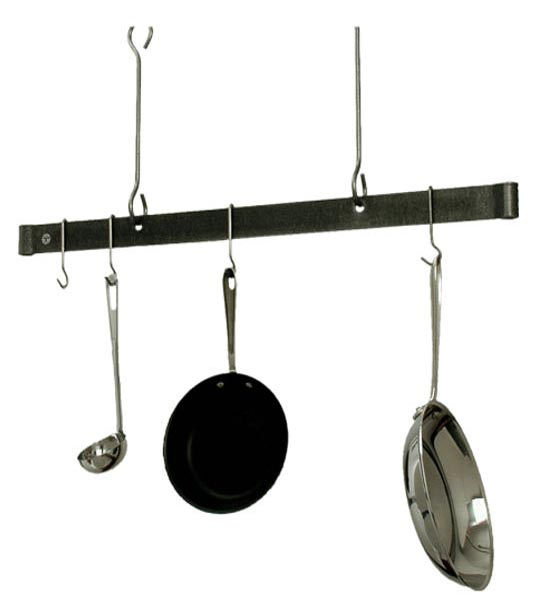 Sleek ceiling bar hanging pot rack in hanging pot racks for Pot racks for kitchen