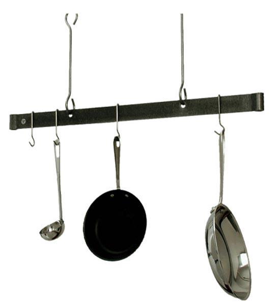 Sleek ceiling bar hanging pot rack in hanging pot racks for Pot racks for kitchen