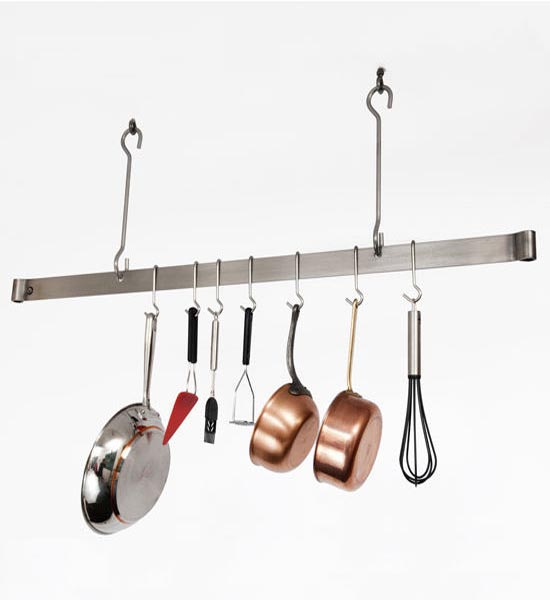 Sleek Ceiling Bar Hanging Pot Rack In Hanging Pot Racks