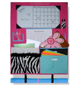 Pink pastel homework caddy