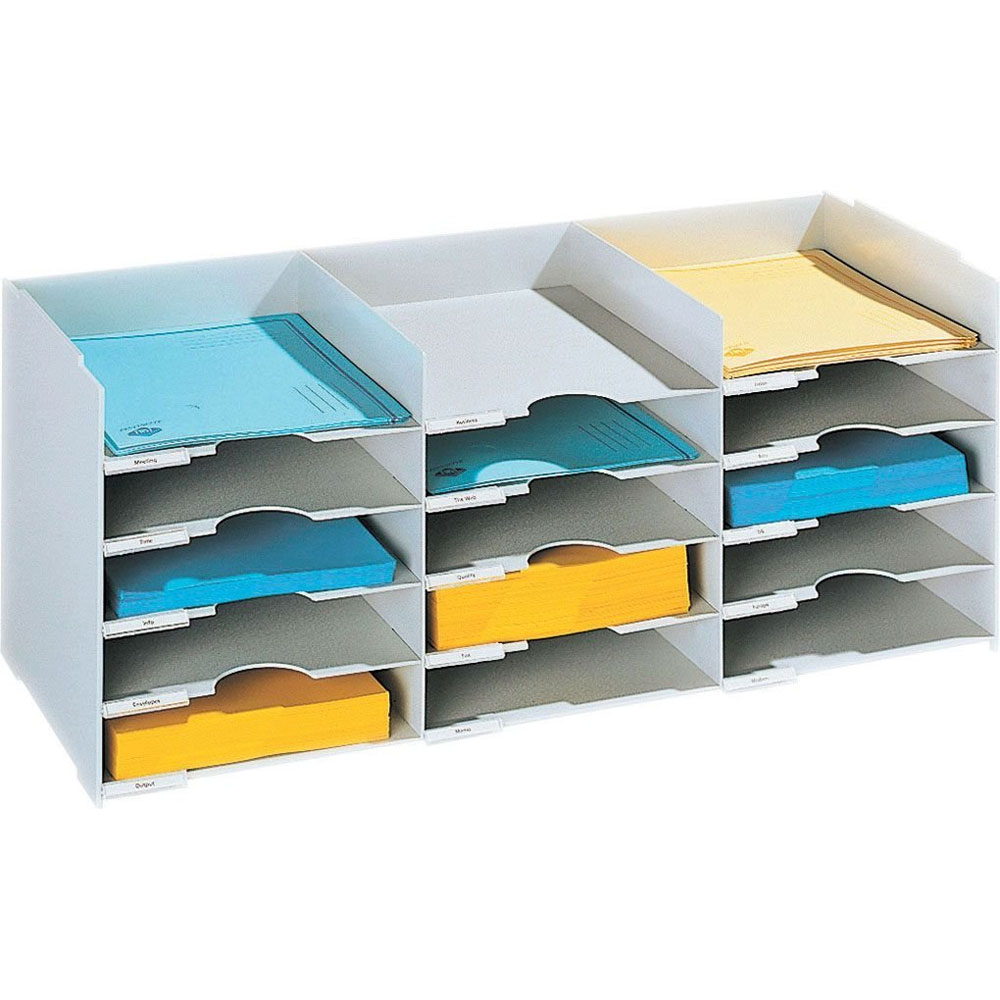 Horizontal Desk Organizer - 15 Compartments in File and Mail