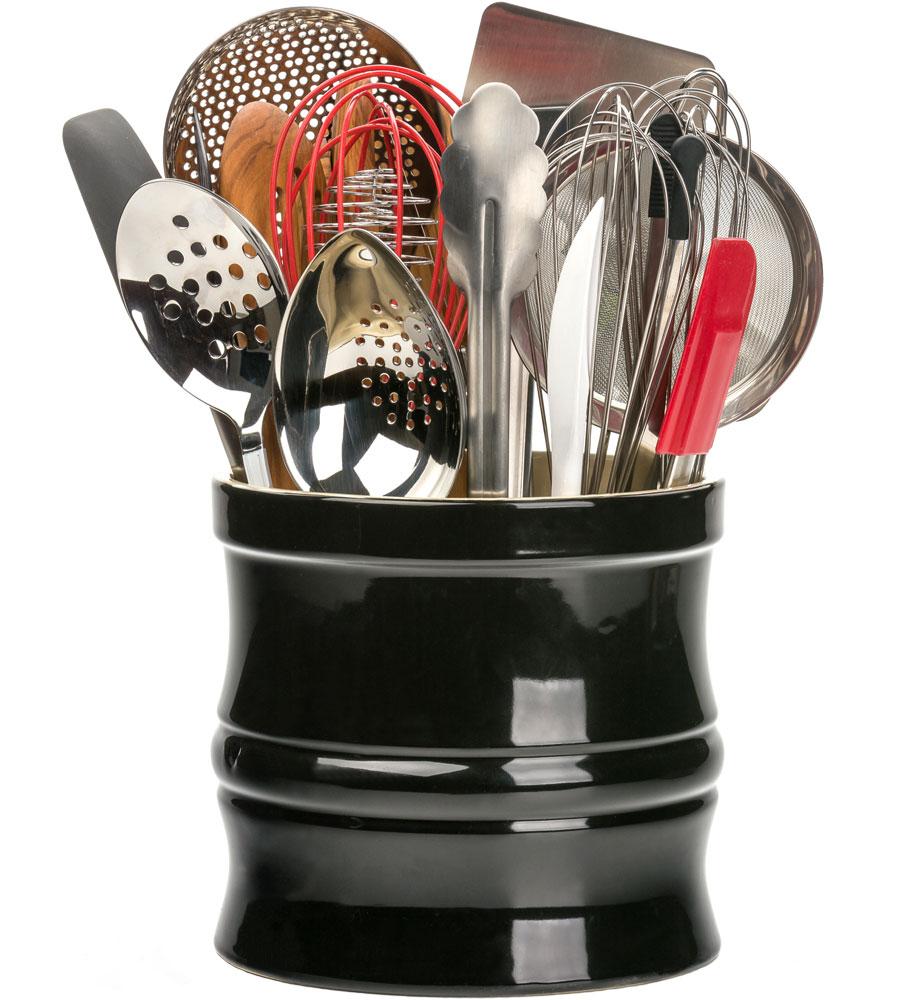 Large utensil crock in kitchen utensil holders for Kitchen utensil holder